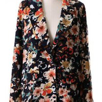 Floral Print Lightweight Blazer with Single Button Closure