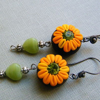 Chocolate Sun Flowers - Dangling Polymer Clay Earrings
