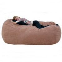 7-feet Xx-large Rust Cozy Sac Foof Bean Bag Chair Love Seat: Home &amp; Kitchen