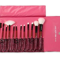 MASH 12pc Studio Pro Makeup Make Up Cosmetic Brush Set Kit w/ Leather Case - For Eye Shadow, Blush, Concealer, Etc