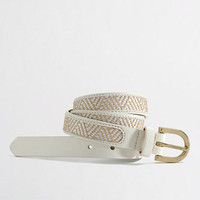 Factory leather-trim basket-weave belt
