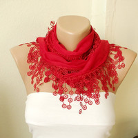 Red wine red Cotton Scarf with Lace by Periay on Etsy