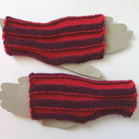 wrist warmers, fingerless gloves, texting gloves, pink and purple Peruvian sheep's wool