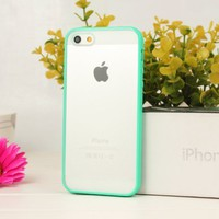 Amazon.com: New Hot Bumper Skin Case With Frosted Clear Back Cover For iPhone 5 5G Turquoise: Cell Phones & Accessories