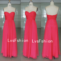 Strapless Sweetheart Long Watermelon Chiffon Prom Dresses, Bridesmaid Dresses, Evening Dresses, Party Dresses, Homecoming Dresses