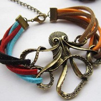 Vintage Octopus Colorful Leather Strap Bracelet