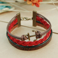 Anchor bracelet-Leather bracelet-Fashion anchor leather bracelet- Gift for boy friend or girl friend