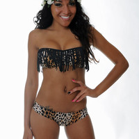 Cheetah/Black Fringe Tube Top