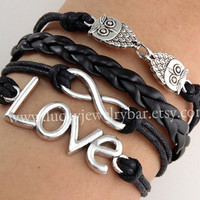 Owls bracelet , love bracelet, Infinity bracelet, black braid leather bracelet, friendship bracelet
