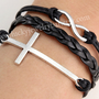 Cross bracelet, Infinity bracelet, black braid leather bracelet, blessed gift