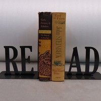 READ Text Bookends FREE USA Shipping by KnobCreekMetalArts