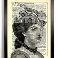 The Steam Queen Upcycled Dictionary Art Vintage Book Print Recycled Vintage Dictionary Steampunk Page Buy 2 Get 1 FREE
