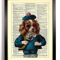 Sailor Dog With Cute Hat, Holding Rope Upcycled Dictionary Vintage Book Art Print Buy 2 Get 1 FREE Puppy