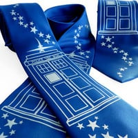 Bigger on the Inside Tie - Doctor Who TARDIS Inspired Men's Necktie - Gifts for Men