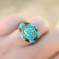 Turtle RING. To Order -Turquoise- Blue, Ocean, Sea, Brown, Gun Metal, Brass, Otter Brown, Bronce, Grey, Dark, Fall, Simple, Animal, Jewelry