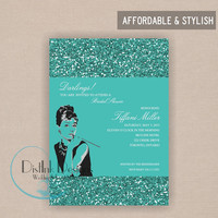 Breakfast at Tiffany's Sparkle Bridal Shower  Invitation - Digital  5x7 File CUSTOMIZE the WORDING