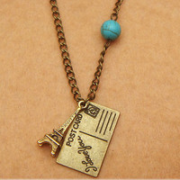 PostCard Eiffel Tower  and Turquoise Necklace by turquoisecity