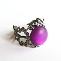 Fun Purple Ring  - Gunmetal Vintage-Style Filigree Ring with a Purple Button - Adjustable