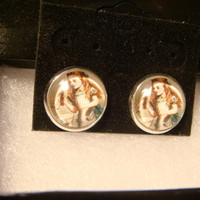 Silver Alice in Wonderland Stud Earrings (985)
