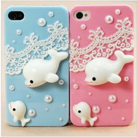 cute whale lace case for iphone 4/4s