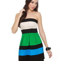 Color Block Dress - Strapless Dress - $37.00