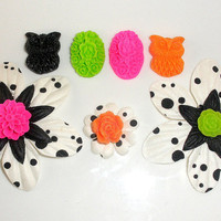 Black & White Hot Pink Neon Orange Lime Flower Owl Magnet Set Home Decor Fridge Gift Under 20