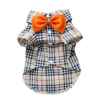 Fashion Casual Dog Plaid Shirt Gentle Dog Western Shirt Dog Clothes Dog Shirt + Bow Free Shipping,Yellow,M