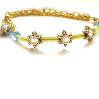 Braided bracelet gold plated chain leather gold star by Daniblu