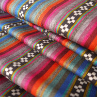 South American Fabric, Peruvian Fabric, Woven, Black Pampa Stripes, 1 Yard