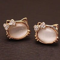 Cute Opal Cat Stud Earrings