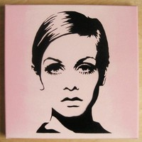 TWIGGY Stencil Graffiti on canvas 60s mod pop art by domdoodle