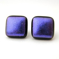 Purplicious Post Earrings Purple dichroic fused by mysassyglass