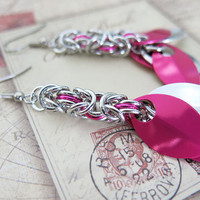 Pink Scale Earrings - Pink Chainmaille Earrings
