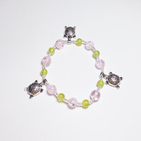 Pewter Turtles with Pink and Green Glass Stretch Beadwork Bracelet