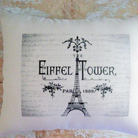 Eiffel Tower Pillow French Country Paris by parismarketplace