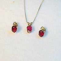 Genuine Red Ruby Jewelry Necklace Post Earring Set, Sterling Silver
