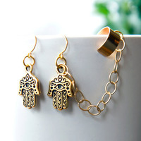 Hamsa Hand Chain Ear Cuff Earrings Antique gold by AtelierYumi