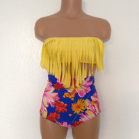 Retro fringe floral swimsuit