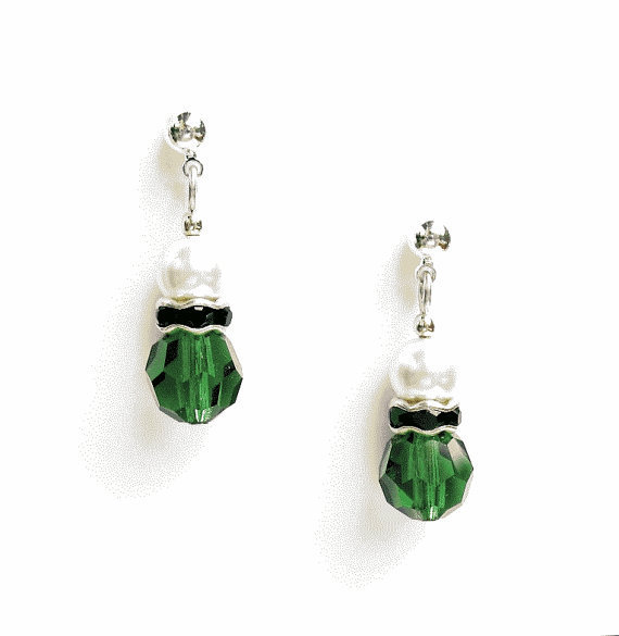 Green Crystal Earrings - on Posts or Wires - by SkyeDancerJewelry on Etsy