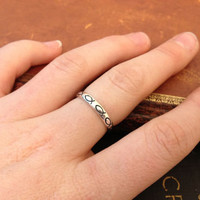 925 Sterling Silver Ichthys Christian Fish Band Stackable Ring