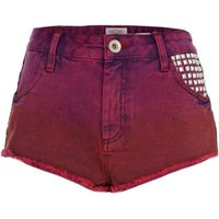 ruby red studded super short denim hotpants - denim shorts - jeans - women - River Island