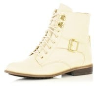 cream lace up ankle boots - ankle boots - shoes / boots - women - River Island