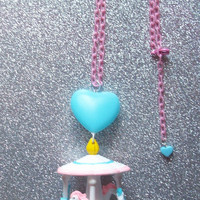 Sweet Pastel Carousel and Heart Balloon Necklace