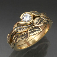 Gold DELICATE LEAF Wedding Ring Set  Engagement Ring by BandScapes