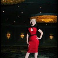 Violet Dress in Red Bengaline with Contrast Velvet | Pinup Girl Clothing