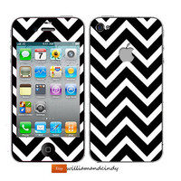 Iphone 5 4 4s Skin - Chevron Black and White Pattern -decal sticker
