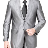 Men's 2 Button Slim Shark Skin Grey Suit (mine's 50 years old tho)