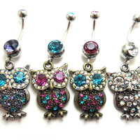 OWL Design with Color gem Navel / Belly button Ring - 316L surgical steel