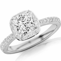 0.99 Carat Classic Halo Style Cushion Shape Diamond Engagement Ring with a Princess Cut / Shape 0.74 Carat J I1 Center Stone and 0.25 Carats of Side Diamonds: Jewelry: Amazon.com
