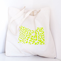 SALE Screen printed tote bag - neon leopard print  - medium